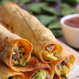 Baked Sausage, Spinach and Egg Breakfast Taquitos.