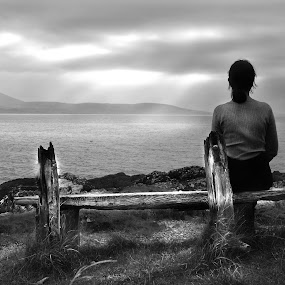 Far away by Ioan G Hiliuta - Black & White Landscapes ( mountains, bench, black and white, lake, woman sitting )
