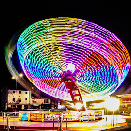 Fun at the fair by Andrew Lancaster - Abstract Light Painting ( beautiful, fast, light, painting, wheel, night, spinning, fairground, fair, ride, nice, colours )