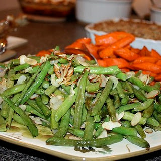 Roasted Green Beans with Shallots and Almonds.