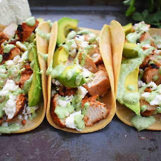 Grilled Chicken Tacos with Roasted Poblano Crema.