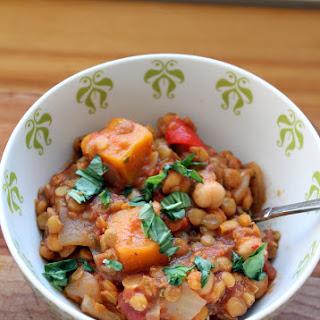 Butternut Squash, Chickpea & Lentil Moroccan Stew.
