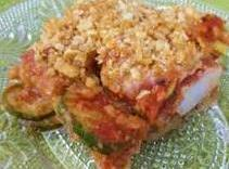 Layer in buttered dish. first 1/3 cup sauce then eggplant, sprinkle with cup shredded cheese,...