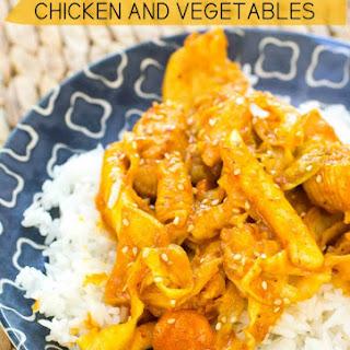 Korean Spicy Stir Fried Chicken and Vegetables.