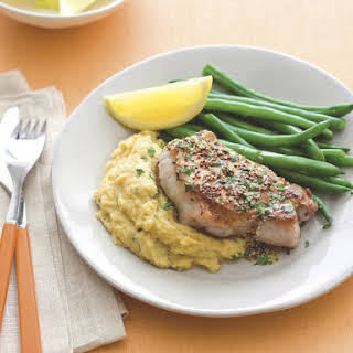 Mustard Pork Chops with Polenta and Green Beans.