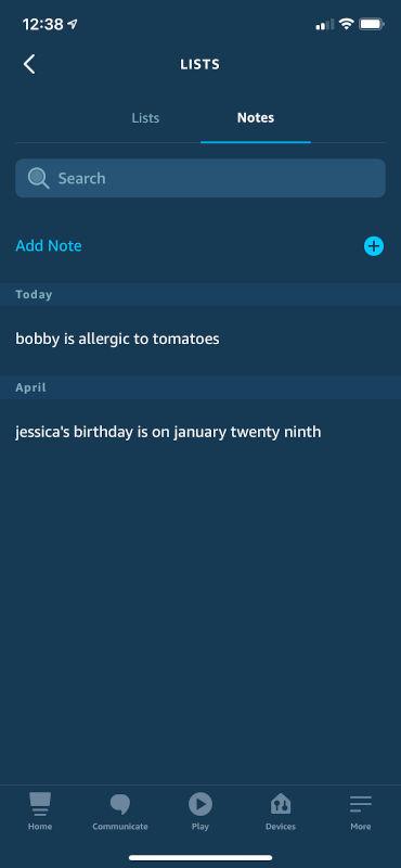 Notes in the Alexa App