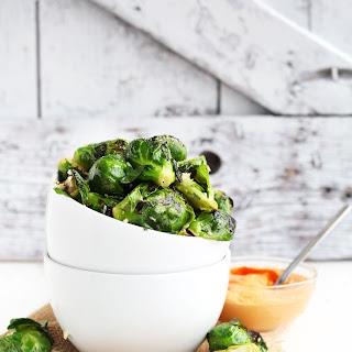 Crispy Garlic Brussels Sprouts with Sriracha Aioli Recipe