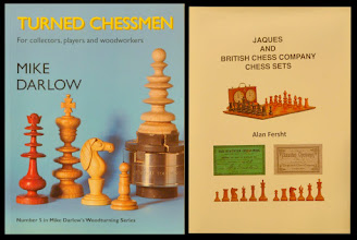 """Photo: Two books that will be referred to repeatedly in this album:  TURNED CHESSMEN - by Mike Darlow; referred to here as """"Darlow"""" it was published in 2004 and is an excellent book as regards chess styles generally. All images of the Jaques Pattern Book pages shown in this album have been taken from here.  JAQUES AND BRITISH CHESS COMPANY CHESS SETS: by Prof.Sir Alan Fersht;  referred to here as """"Fersht"""" it was published in 2010 and is the second of Alan's books on Jaques. As well as updating his previous 2007 work on Jaques Staunton sets, it includes a brief overview of BCC and its output, and incorporates a review of Jaques non-Staunton chessmen. It is, again, excellent on Jaques products; for BCC, a more detailed work was later published in 2010 by Mick Deasey & Guy Lyons on CD-ROM - copies of the CD are still available; see:  https://picasaweb.google.com/108759751128274390004/CHESSSETSFORSALE#6077576362238870274"""
