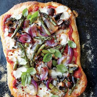 Roasted Asparagus, Mushroom, and Onion Pizza