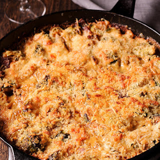 Brussels Sprouts and Bacon Gratin with Gruyère Cheese.