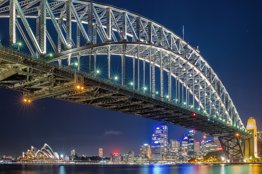 Hello Sydney by Korawee Ratchapakdee - Buildings & Architecture Bridges & Suspended Structures ( australia, habour bridge, new south wales, bridge, opera house, sydney, nightscape )