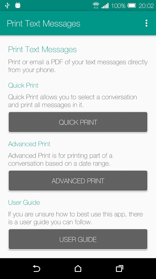 Print Text Messages- screenshot