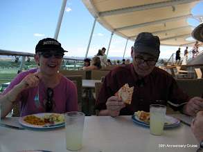 Photo: Lunch in the Windjammer and the last known sighting of the Jazzercise hat.