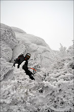 Photo: Anthony below the arete, near the summit.