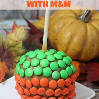 Caramel Apples with M&M