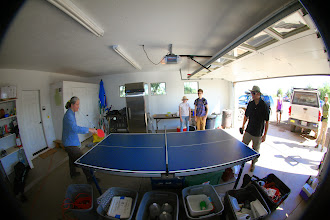 Photo: Sarah and Park playing Ping Pong.