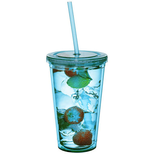 Transparent Plastic Cup With Lid & Straw - multi
