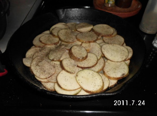 Put just enough olive oil to lightly cover bottom of an OVEN proof skillet....