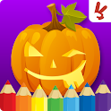 Kids coloring book halloween icon