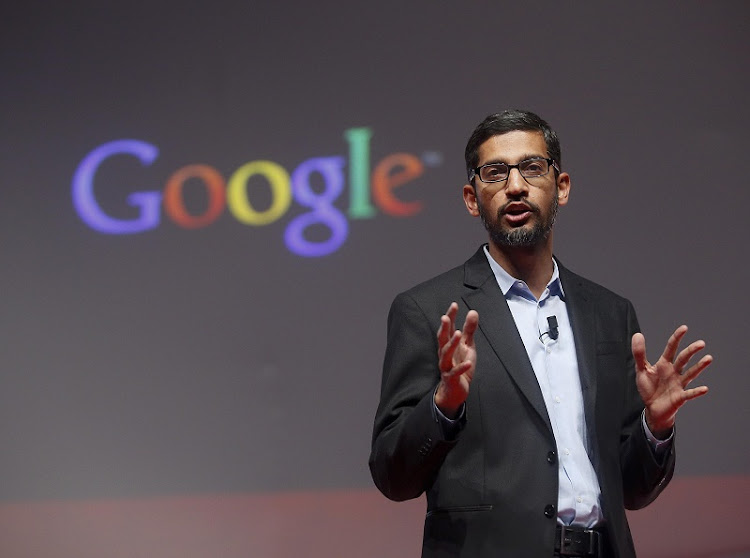 Sundar Pichai, Google's senior vice president of products, speaks during a presentation at the Mobile World Congress in Barcelona , Spain, on Monday.  Picture: REUTERS