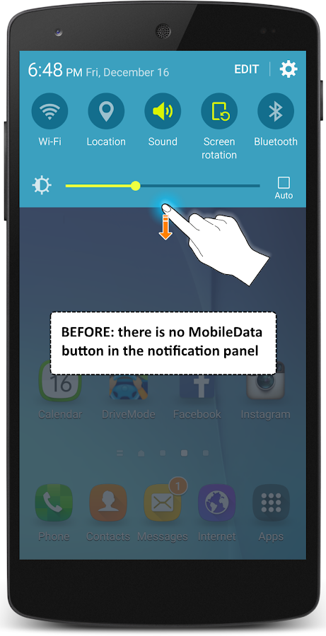 Install the MobileData button- screenshot