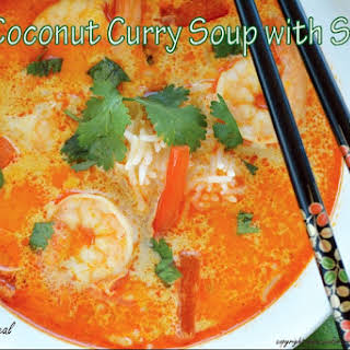 Thai Coconut Curry Soup with Shrimp.
