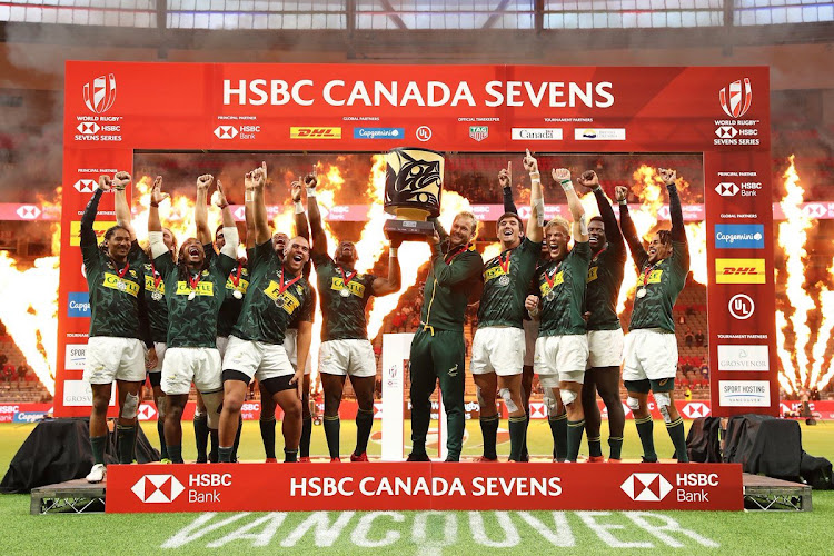 The Blitzboks celebrate after winning the Canada Sevens.