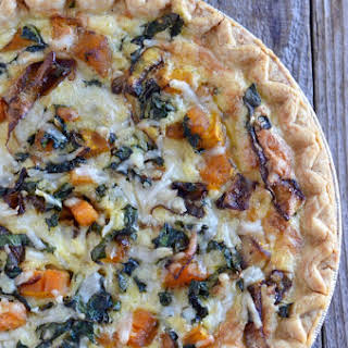 Butternut Squash and Kale Quiche with Crème Fraîche.