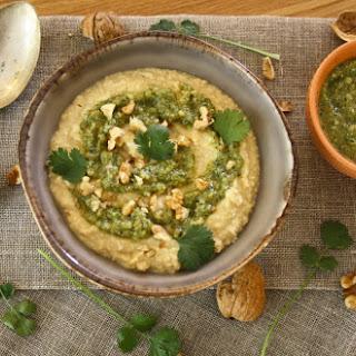 Hummus with Coriander Pesto.
