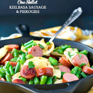 One Skillet Kielbasa Sausage and Pierogies.