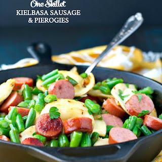 One Skillet Kielbasa Sausage and Pierogies.