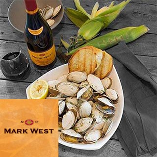 Grilled Clams with Garlic Butter and Mark West Pinot Noir