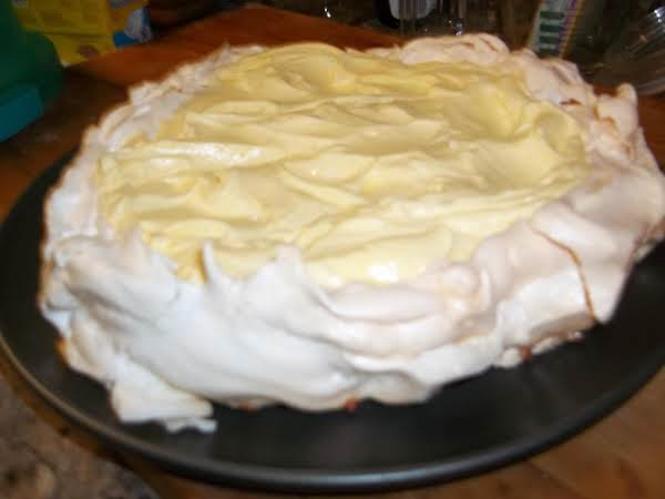 This Is A Free Standing Meringue.  I Just Drew A Circle On A Piece Of Parchment On A Cookie Sheet And Spread Out The Egg Whites And Left A Hollow Area In The Middle.