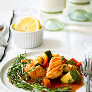 Braised Cod with Summer Vegetables.