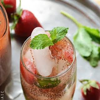 Strawberry Chia Seed Iced Green Tea.