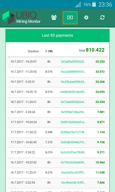 Ubiq Mining Monitor- screenshot