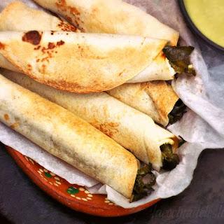 Crispy Flautas de Rajas con Requeson w/ Avocado Salsa Verde.