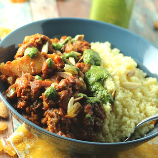 Vegetable Tagine with Cilantro-Mint Chermoula and Saffron Couscous