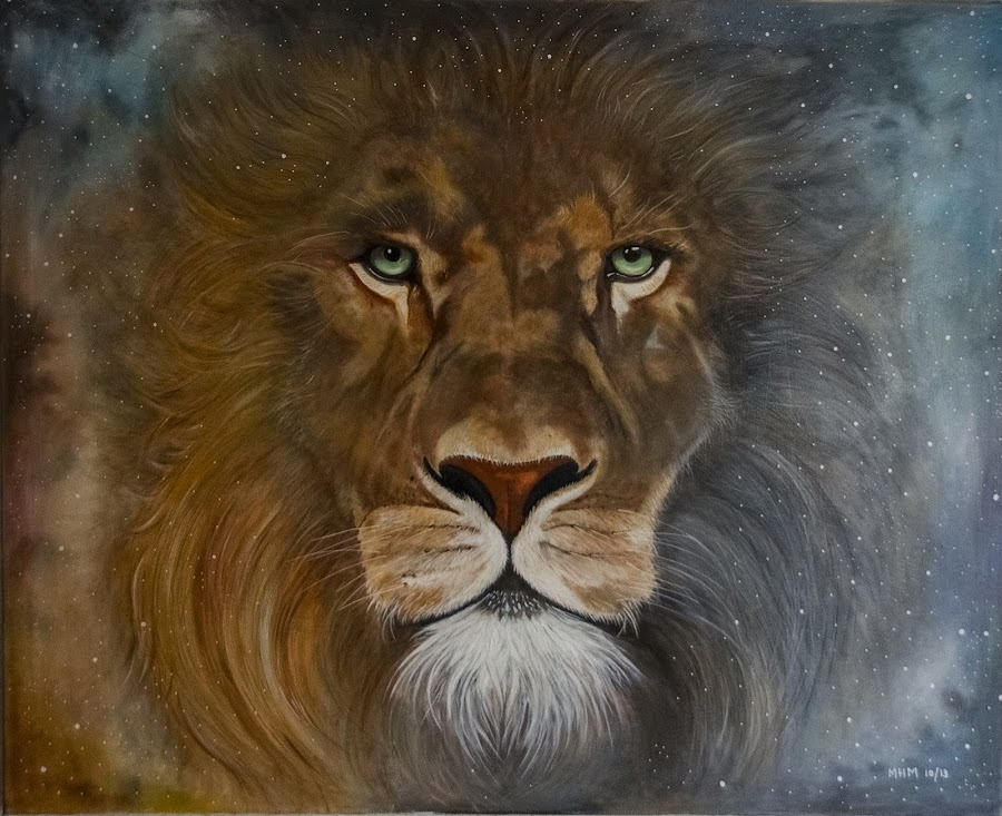 EL REY by Miguel Lopez De Haro - Painting All Painting ( fauna, leon, oleo, pintura,  )
