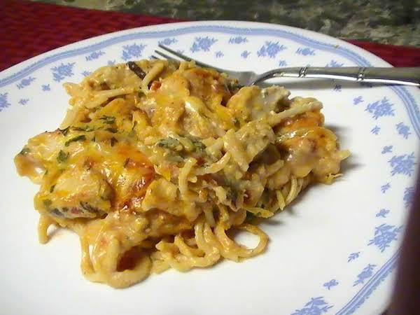 Kicked Up Creamy Chickenpasta Casserole Recipe Just A Pinch