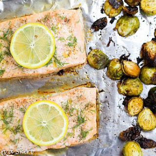 Garlic & Dill Salmon & Brussels Sprouts One Pan Meal