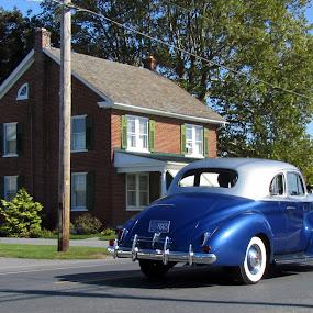 Retro Day by Jacob Uriel - City,  Street & Park  Street Scenes ( car, home, america, blue, street, town )