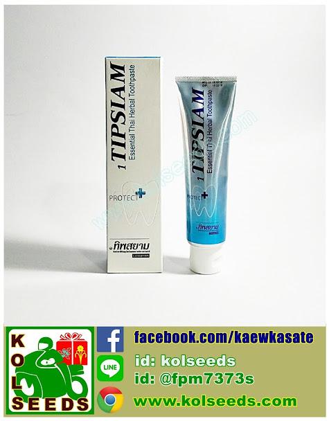 ยาสีฟันทิพย์สยาม หรือ ยาสีฟัน๑ทิพสยาม ขายส่ง-ปลีก ยาสีฟันสมุนไพรไทยผสมสารสกัดจากธรรมชาติ ป้องกันฟันผุ ลดการเสียวฟัน ทำความสะอาดเหงือกและฟัน ได้อย่างทั่วถึง กลิ่นปากหอมสดชื่น