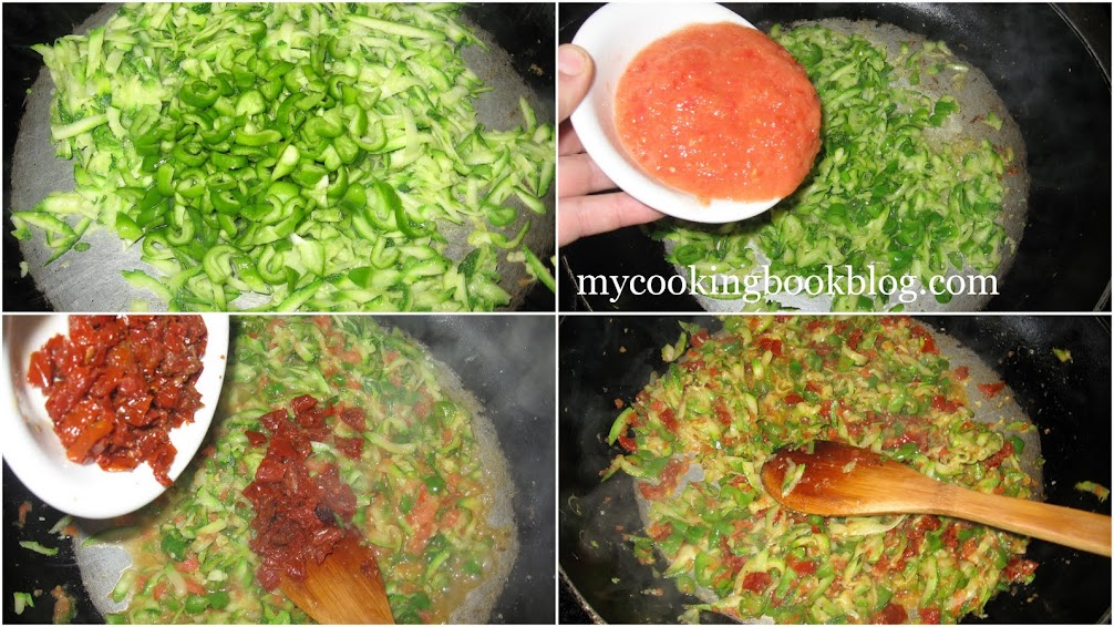 Пълнени зелени чушки с булгур, сушени домати и тиквички