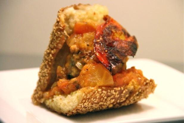 Photo: Meatball Sliders with Homemade Tomato Sauce: http://www.thedailymeal.com/11-sexy-slider-recipes-slideshow#2