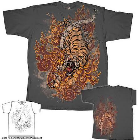 T-Shirt - Burning Tiger