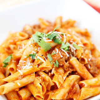 Gluten Free Pressure Cooker Pasta with Meat Sauce.