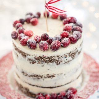 Festive Cranberry, Orange and Walnut Layer Cake.