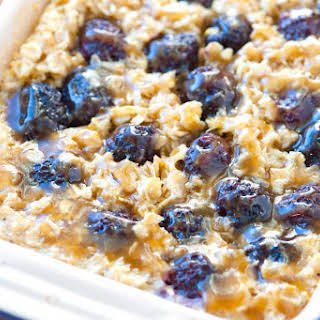 Blackberry Baked Oatmeal Recipe with Caramel Sauce.