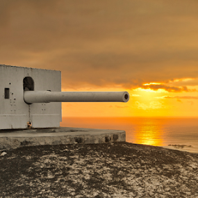 Shooting the sunset by Steve BB - Buildings & Architecture Other Exteriors ( seascape, guns, sunset, fire, shoot, hms hood, landscape )